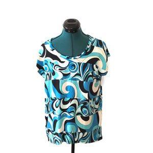 Michael Michael Kors Blue Tunic Top Medium Swirl